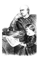 Illustration précepteur et enfant