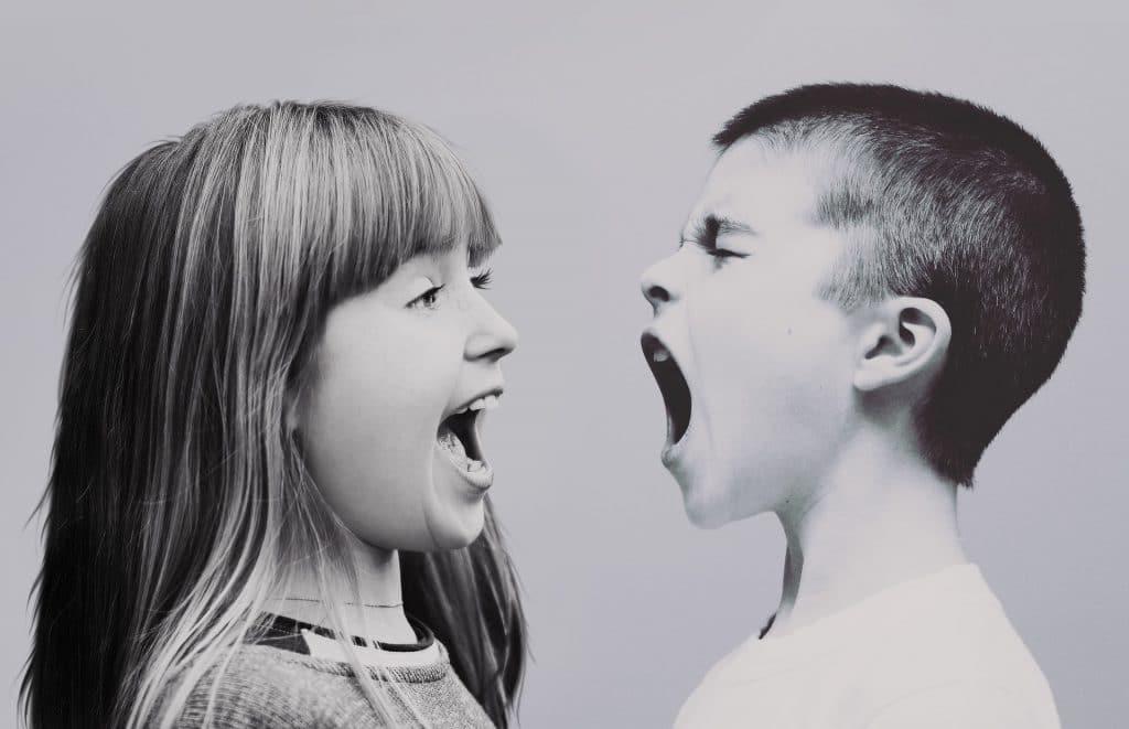 Frère et soeur dispute conflit cris